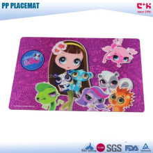 Waterproof pet shop pp printed plastic cartoon placemats for kids