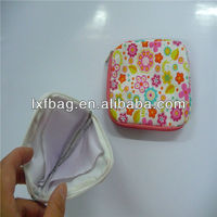 trendy syle lovely top quality round mini handbag coin purse, new arrival printing cute chinese silk coin purse