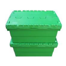 Round trip totes plastic storage crate with hinged lid box