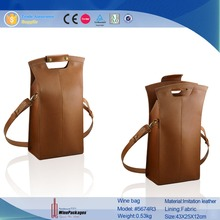 PU Leather Material and Disposable Feature Wine Bag Carrier