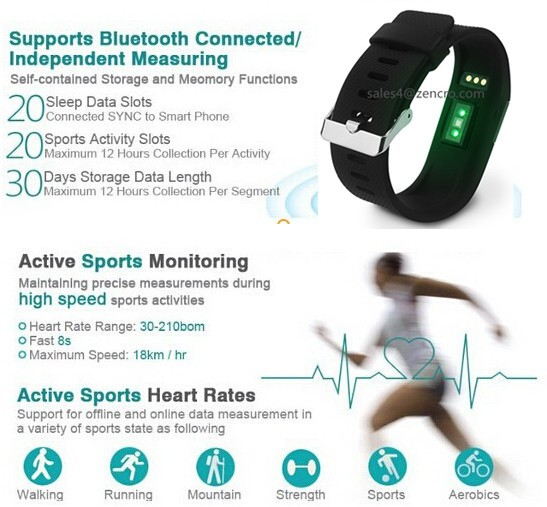 Hot Sale!!Fit bit Heart Rate Monitor Watch Smartphones with Remote Camera Shutter