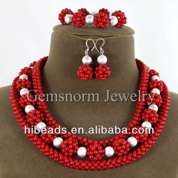 Handmade Red Coral Balls Necklace/Bracelet/ Earrings Set Splendid Bridal Coral Jewelry Set CJ046