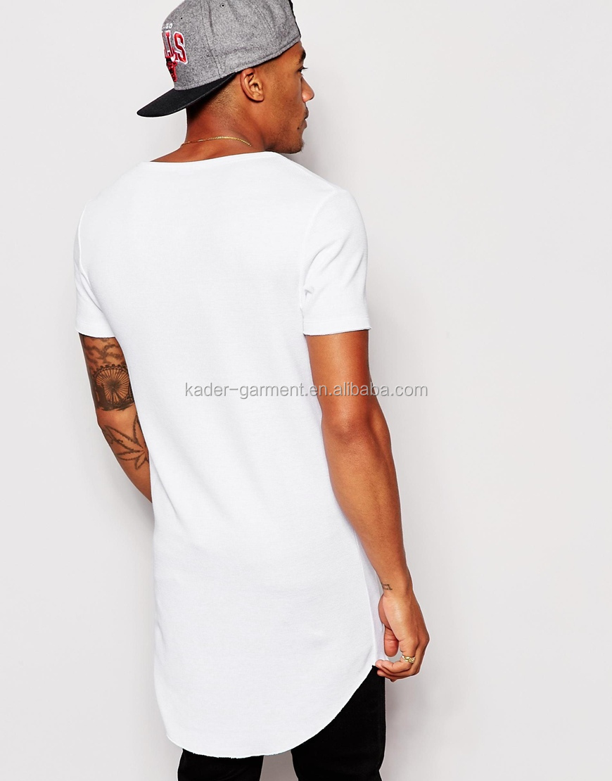 Slim fit plain white curved bottom men's longline t shirt