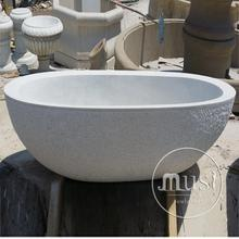 flower carved oval carved bathing tub