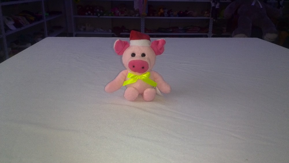 17cm promotional customized plush christmas pig/frog/bear/cow animal collection toy with red hat&green bowtie