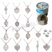 Freshwater Pearl Locket Necklace Zinc Alloy with Pearl platinum color natural & for woman Approx 19.6 Inch