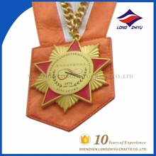 Wholesale star shaped customized cook metal medals with wide ribbon and chain