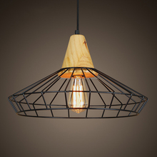 Wood and metal Pendant Light Decorative Hanging Home Modern Metal Shade Restaurant