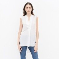 high fashion women white top v neck sleeveless long style top