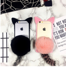 OEM and ODM High quality luxury rex rabbit pattern velvet cell phone case and cover for iPhone 7 7plus