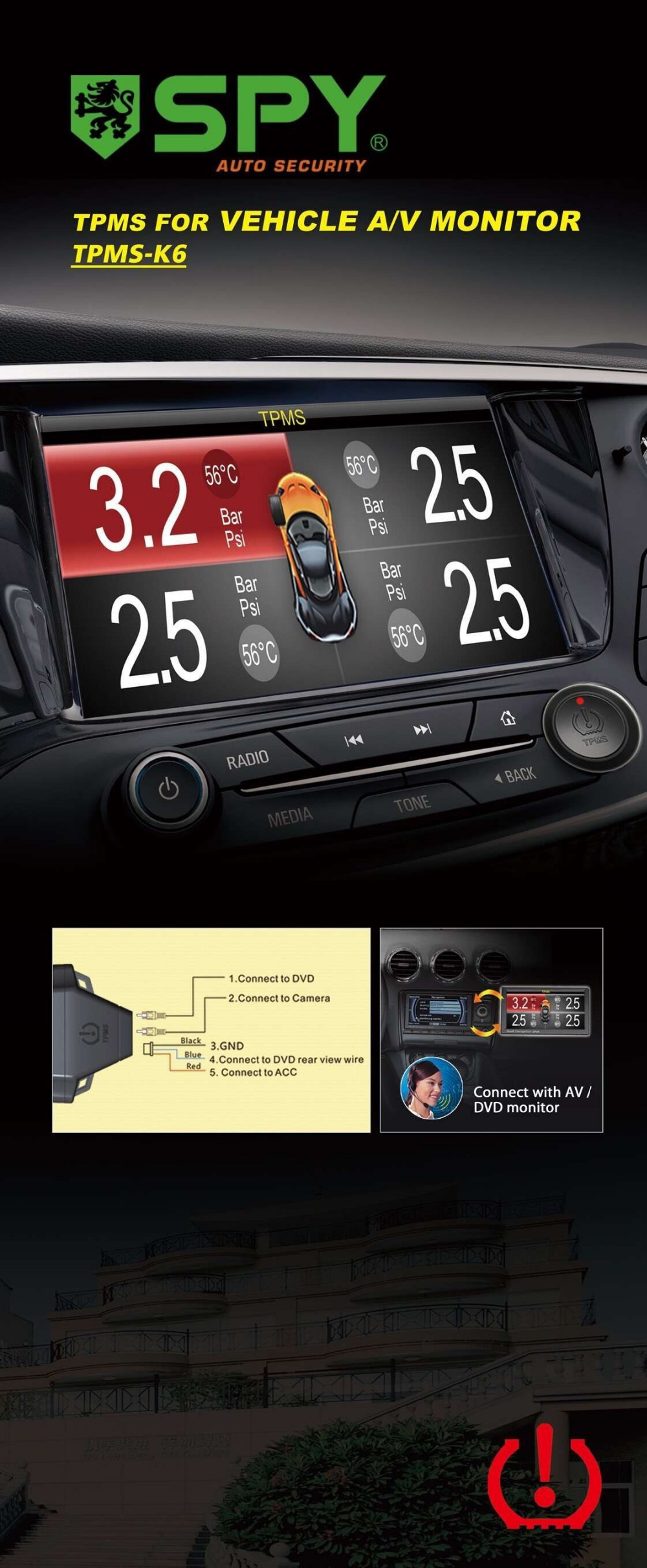 Wireless Internal DVD Tyre Pressure Monitoring System Car Radio tpms sensor universal