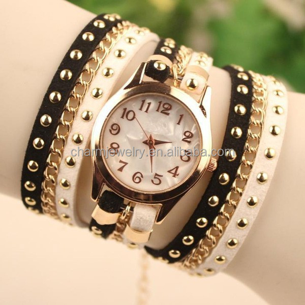 2016 New Fashionable ladies wrist watches Hot Colorful Weave Wrap Rivet Leather Bracelet watch for women BWL010
