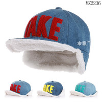 MZ2236 Hot sale wool TAKE earmuffs cowboy baseball cap for kids 2015