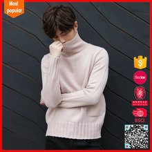 long sleeve round collar thick wool sweaters for men