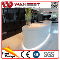 High gloss luxury white artificial marble island kitchen counter cabinet with wash sinks