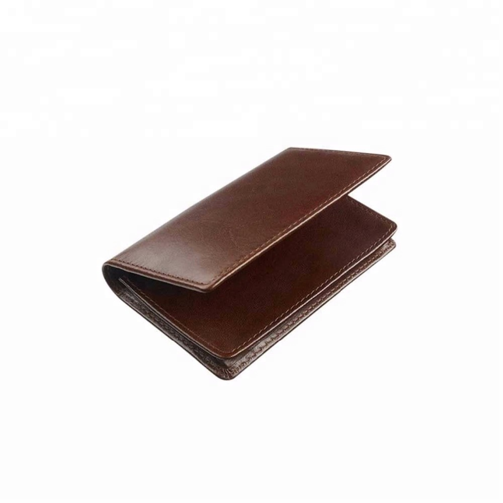 Custom brown leather card holder, passport holder leather payment card holder