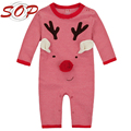 Long Sleeve Red Stripe Deer Pattern Infant Baby Christmas Sleep Jumpsuits And Rompers