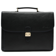 leather messenger bag Trendy office men bags used briefcases with metal button