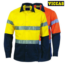 Hi Vis Cotton Anti-UV Reflective Work Shirts