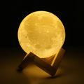 Rechargeable 3D Print Moon Lamp Night Light 2 Color Change Touch Switch Bedroom Bookcase Night Light Home Decor Creative Gift