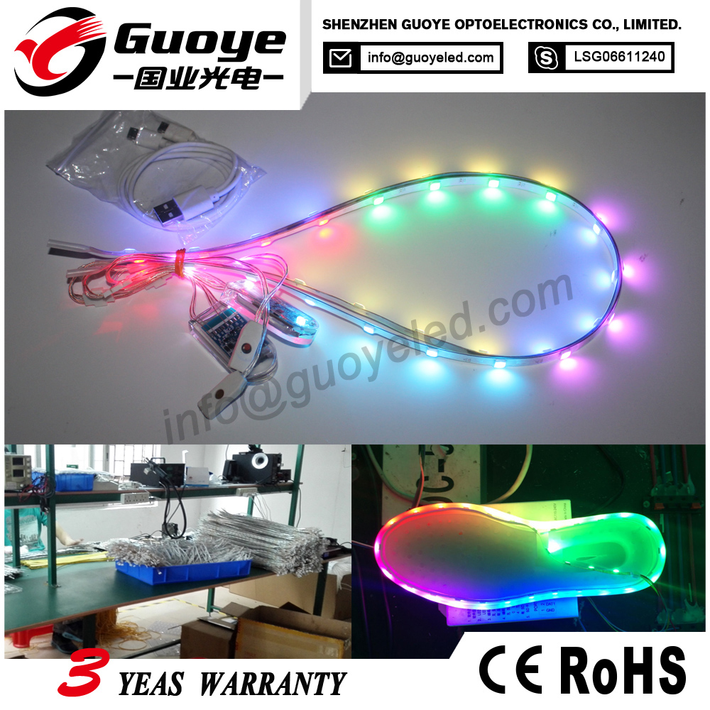 Wholesale battery operated led shoes light with RGB magic music funtion led shoes lights for shoes