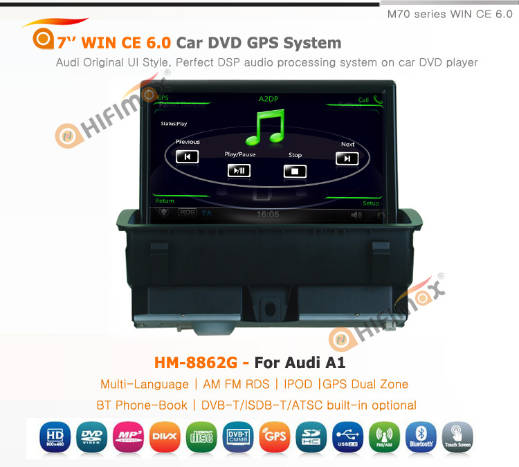Hifimax 7'' Car GPS Navigation For Audi A1 2011 Head unit w/ Bluetooth IPOD RDS Support HD 1080P Video Playback