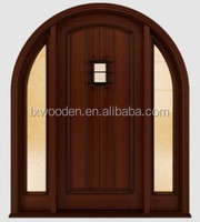 Rustic wood entry door carving with window inserts