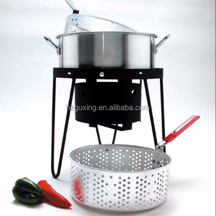 Outdoor camping gas fish cooking pot with basket