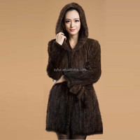 women's long mink fur knitting hooded coat and oversize knitted mink fur coat with waistband