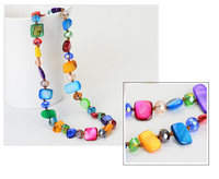 Zooying Summer Bohemian multilayer shell glass crystal beads necklace
