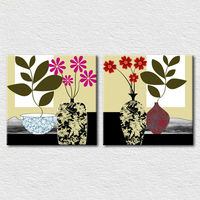 Flowers vase canvas simple abstract paintings for modern home decoration