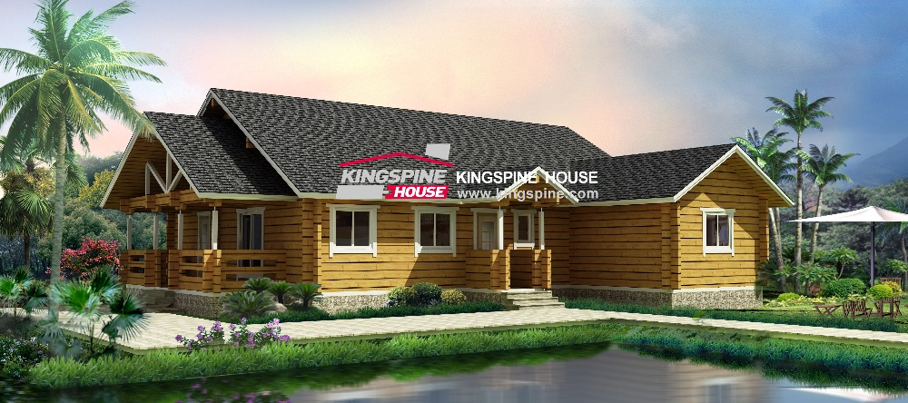Popular Cottage Large Cabin Earthquake Proof Wooden Prefabricated House KPL-020