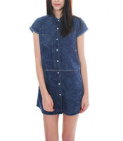CHEFON Dark wash short sleeved denim button up shirt dress