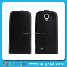 Wholesale Flip Down Promotional Cheap PU Leather Flip Case For Samsung Galaxy S4 (Black)