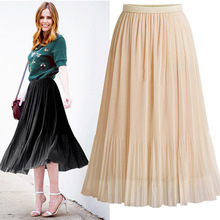 F10681A 2018 women's summer high-waist <strong>skirts</strong> wild net yarn <strong>skirts</strong> ladies solid color pleated <strong>skirt</strong>