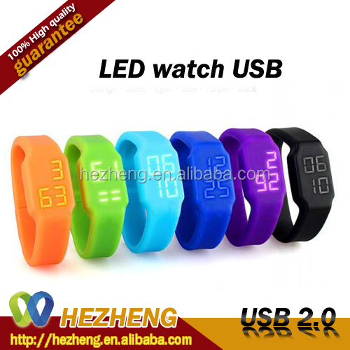 Marvel LED Digital Watch Shape 2GB USB <strong>Flash</strong> Memory Download 2.0 Customized Logo Bulk Gifts Promotionals