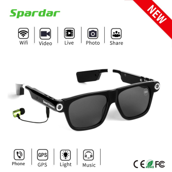 NEW Smart WIFI Camera Video Live Stream BT MP3 Manual Sunglasses