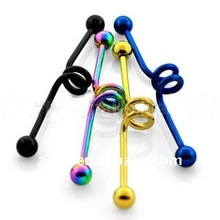 5mm balls, 14g, - steel Anodized industrial barbells,body piercing jewelry