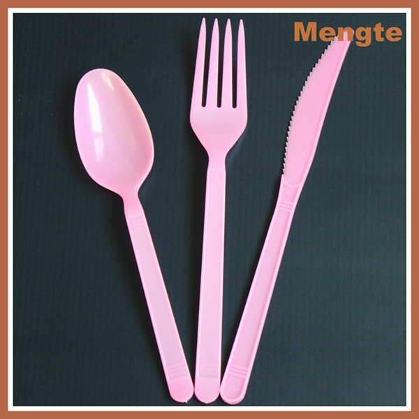 milky white restaurant disposable plastic cutlery set