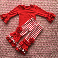 Newest Arrival Children Outfits Baby Girls Red Tops And Stripe Ruffle Pants Baby Suits