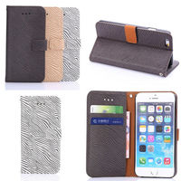 zebra pattern wallet stand for iphone 6 leather cover