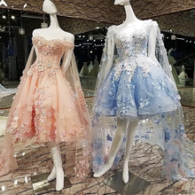 Short Evening Dress with Long Cape Lace Up Back Appliques Pink and Blue Prom Dresses Abendkleider 2018 Real Photos
