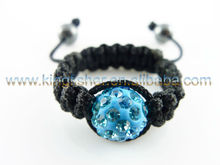 Handmade asjustable black rope braided shamballa rhinestone balls beaded rings wholesales.