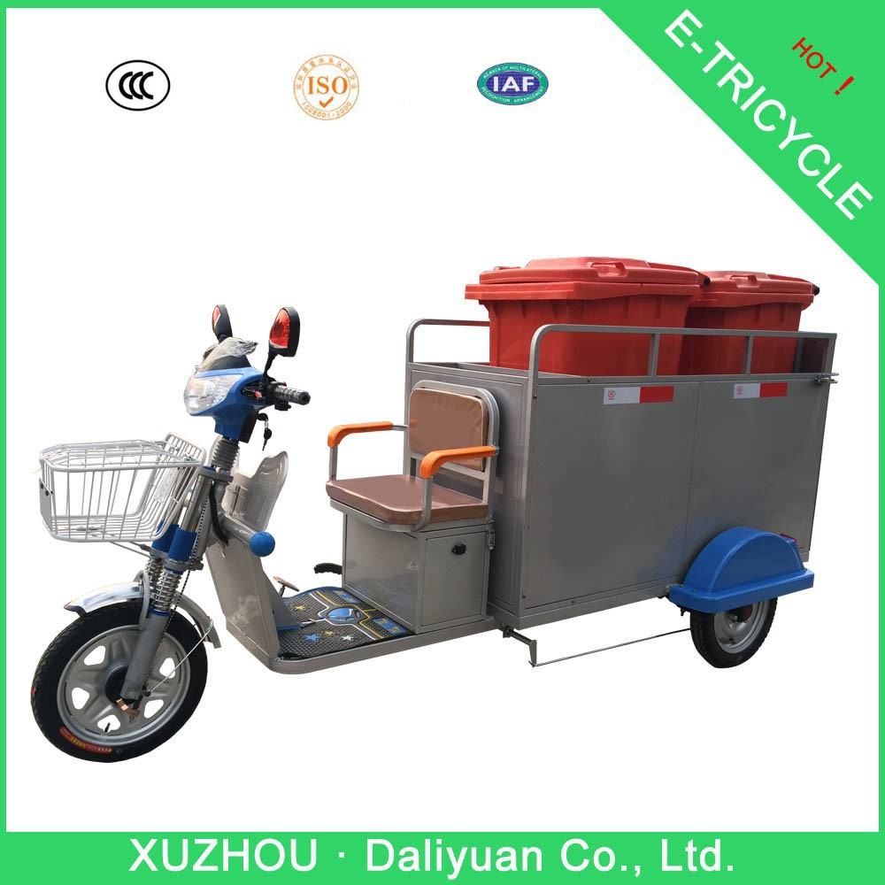 650W garbage trash cleaning electric tricycle used with two 240L plastic dustbin