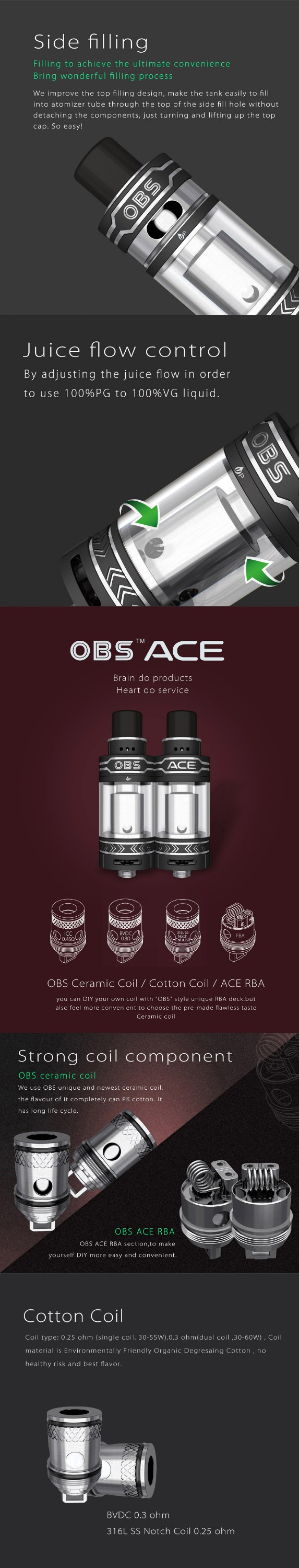 Newest arrival OBS electronic cigarettes atomizer tank side fill design ceramic coil OBS ACE Tank