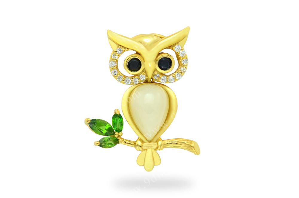 Owl Design Animal Fashion Pendant and Earring China Wholesale 925 Silver 18k Gold Plated Jewelry Set