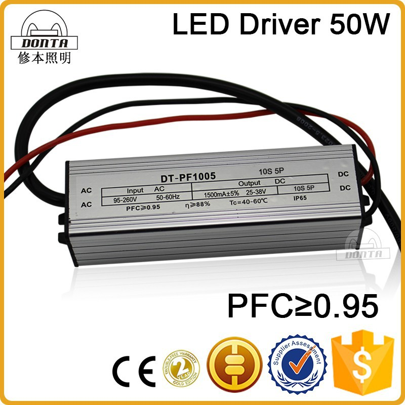 Waterproof IP67 1500ma 50w constant current led driver