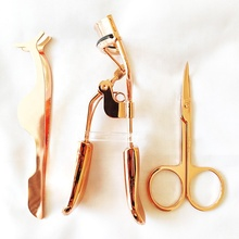 stainless steel eyelash applicator rose gold lash curler gold color tweezer set eyelash extension
