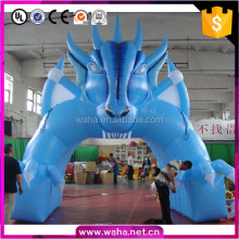 2017 new special design blue dragon giant advertising inflatable tunnel channel passage for sports