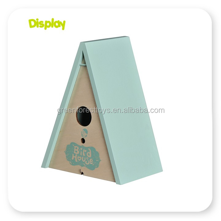 Customized small wood crafts bird house with low price make wooden bird cage